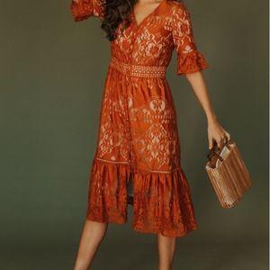 IVY CITY CO Monroe Lace Dress Auburn Medium